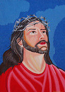 Sacred Tapestries - Textiles Metal Prints - Jesus hand embroidery Metal Print by To-Tam Gerwe