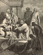 Bible Drawings - Jesus Healing the Sick by Antique Engravings