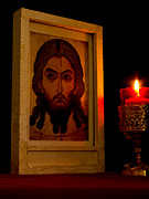 Russian Icon Prints - Jesus Icon Not Made with Hands Print by Richard Singleton