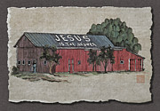 Religious Artist Digital Art - Jesus Is The Answer Sign On Red Barn by Richard Neuman