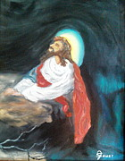 Red Robe Originals - Jesus kneeling by Julie Sauer