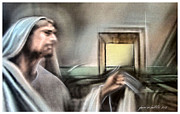 Jesus Pastels Prints - Jesus - Knocking 2013 Print by Glenn Bautista