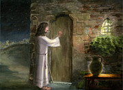 Religious Prints - Jesus knocking at the door Print by Cecilia  Brendel
