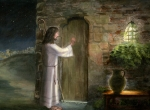 Bible Painting Posters - Jesus Knocking on the Door Poster by Cecilia  Brendel