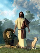 Jesus Christ Prints - Jesus Lamb and Lion Print by Jesus Christ