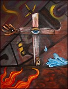 Crucifix Art Painting Metal Prints - Jesus Metal Print by Laura Barbosa