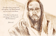 Lord Drawings Metal Prints - Jesus looking at Pharisees with verse Metal Print by Susan Jenkins
