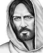 Graphite Drawings Drawings Posters - Jesus of Nazareth Poster by Charles Champin