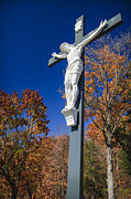 Christian Sacred Metal Prints - Jesus on the Cross Metal Print by Adam Romanowicz