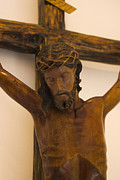 Wooden Sculpture Art - Jesus On The Cross by Al Bourassa