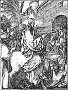 Biblical Drawings Framed Prints - Jesus on the Donkey Palm Sunday Etching Framed Print by Albrecht Durer