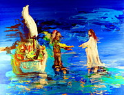Christian Artwork Painting Originals - Jesus on the Water Original Painting by Eric Drury by Eric Dru Stephenz Drury
