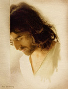Christ Face Digital Art Prints - Jesus Praying Print by Ray Downing