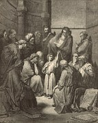Bible Drawings Prints - Jesus Questioning the Doctors Print by Antique Engravings