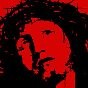 Jesus Christ Icon Originals - Jesus - red by David Krajecki