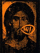 Jesus Drawings Prints - Jesus Says Hi Print by Patrick Morgan