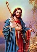 Shepherd Art - Jesus Shepherd by Munir Alawi