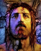 Christ Face Digital Art Prints - Jesus - Stained Glass Print by Ray Downing