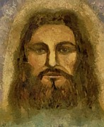 Bible Pastels Metal Prints - Jesus The Shroud of Turin Metal Print by Lance Sheridan-Peel