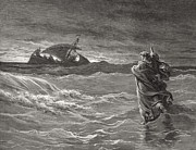 Water Drawings Posters - Jesus Walking on the Sea John 6 19 21 Poster by Gustave Dore
