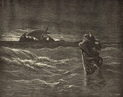 Bible Drawings Prints - Jesus Walking on the Water Print by Antique Engravings