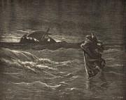 Jesus Walking On The Water Print by Antique Engravings