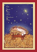 Filled With Stars Prints - Jesus Was Born On Christmas Day Print by Dessie Durham