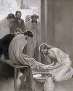 Christian Framed Prints - Jesus Washing the Feet of his Disciples Framed Print by Albert Gustaf Aristides Edelfelt
