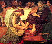 Religious Art Painting Prints - Jesus Washing the Feet of the Disciples Print by Ford Madox Brown