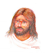 Jesus Pastels Prints - Jesus wept Print by David Zamudio