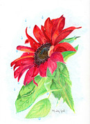 Wept Posters - Jesus Wept Red Sunflower Poster by Linda Ginn