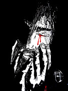 Justin Moore Drawings Prints - Jesus Wept Red Tears Print by Justin Moore