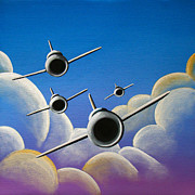 Airplane Paintings - Jet Quartet by Cindy Thornton