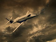 Plane Mixed Media Metal Prints - Jet Through The Clouds Metal Print by David Dehner