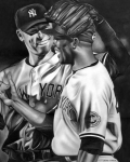 Athletes Drawings Metal Prints - Jeter and Mariano Metal Print by Jerry Winick