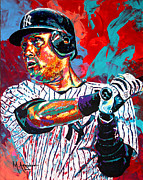 League Painting Framed Prints - Jeter at Bat Framed Print by Maria Arango