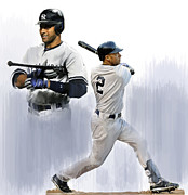Athletes Drawings Framed Prints - Jeter Derek Jeter Framed Print by Iconic Images Art Gallery David Pucciarelli