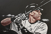 Mlb Drawings Framed Prints - Jeter  Framed Print by Don Medina