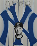 Yankees Painting Originals - Jeter by William Chavez