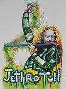 Rock And Roll Art Painting Originals - Jethro Tull by Chrisann Ellis