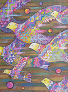 Flock Of Birds Painting Metal Prints - Jetstream Metal Print by Sarah Porter