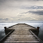 Moody Sky Posters - Jetty and Stormy Sky Poster by Colin and Linda McKie