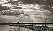 Jetty And Sunrays In Bw Print by Greg Jackson