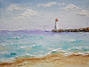 Navigation Paintings - Jetty Lighthouse by Jimmie Bartlett