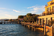 Italian Sunset Posters - Jetty Port and Quay in Sirmione Poster by Kiril Stanchev