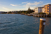 Italian Sunset Posters - Jetty Port and Waterfront in Sirmione Poster by Kiril Stanchev