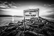 Subject Framed Prints - Jetty Subject to High Surf Sign Black and White Picture Framed Print by Paul Velgos
