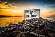 Subject Prints - Jetty Subject to High Surf Sign in Newport Beach Print by Paul Velgos