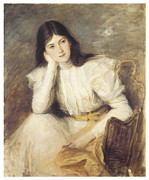 Vintage Woman Paintings - Jeune fille reveuse portrait de Berthi Capel by Jacques-Emile Blanche