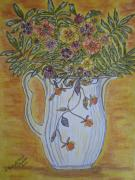 Pottery Pitcher Painting Prints - Jewel Tea Pitcher with Marigolds Print by Kathy Marrs Chandler